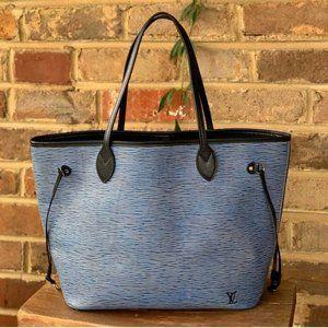 Louis Vuitton Epi Denim Neverfull Blue Black Inner